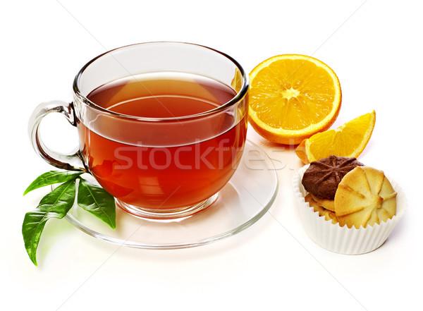 Сток-фото: чай · апельсинов · Cookies · изолированный · белый · Кубок