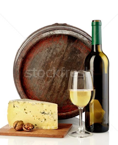 Fehérbor sajt hordó izolált fehér ital Stock fotó © goir