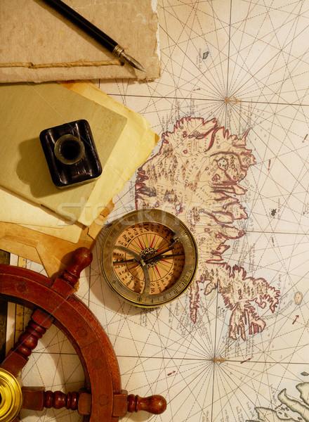 Vintage Voyage marines équipement vieille carte monde Photo stock © goir