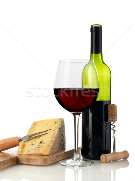 ワイン チーズ 孤立した 白 食品 ドリンク ストックフォト © goir