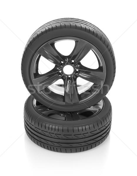 Spor lastikler araba yalıtılmış beyaz Metal Stok fotoğraf © goir