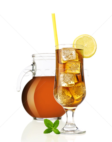 Thé glacé citron menthe isolé blanche Photo stock © goir