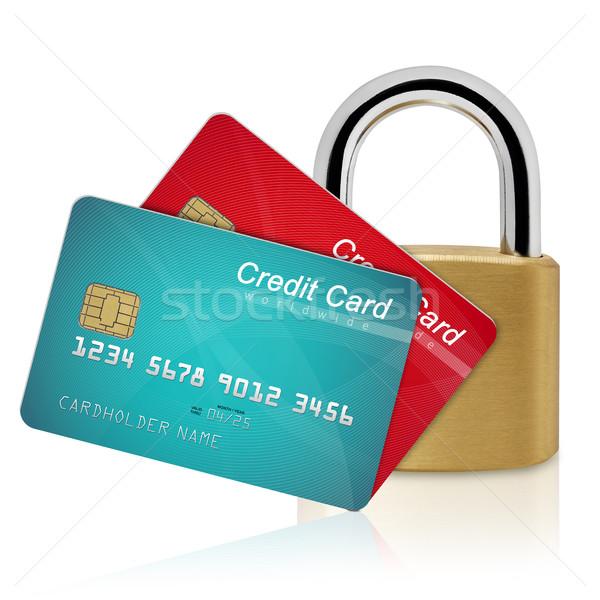 Hitelkártyák biztonság lakat izolált fehér pénzügy Stock fotó © goir