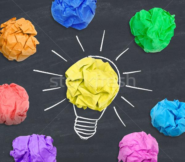 Idée papier balle ampoule autre Photo stock © goir