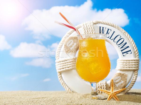 Bem-vindo praia assinar areia coquetel céu Foto stock © goir