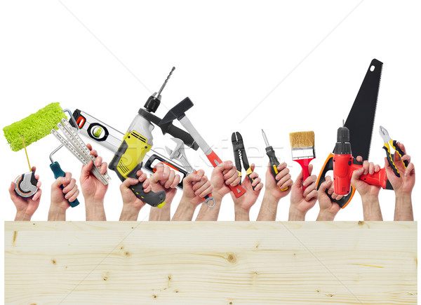 Foto stock: Manos · herramientas · madera · bordo