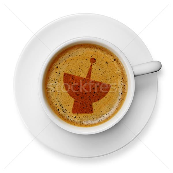 спутниковой икона кофе чашку кофе изолированный белый Сток-фото © goir