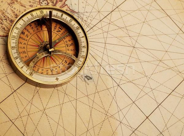 Adventure здесь компас старая карта парусного фотографии Сток-фото © goir