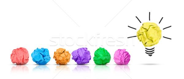 Idee papier bal gloeilamp ander veelkleurig Stockfoto © goir