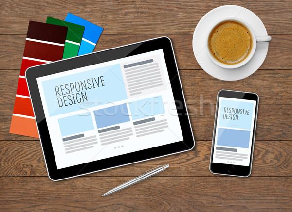 Responsive design on mobile devices Stock photo © goir