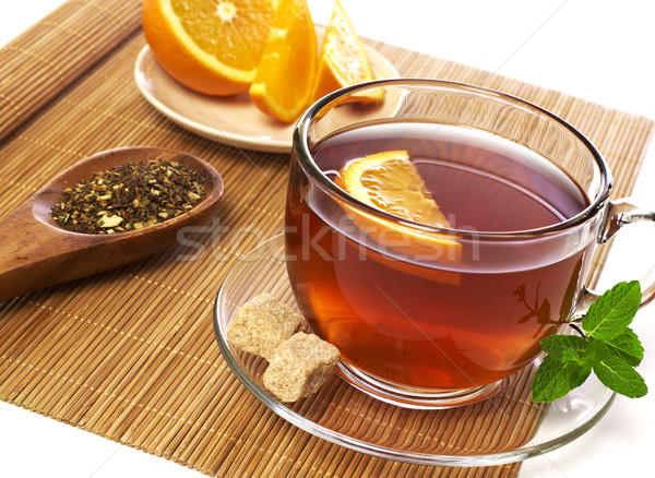 Сток-фото: чай · Кубок · оранжевый · Ломтики · лист · ложку