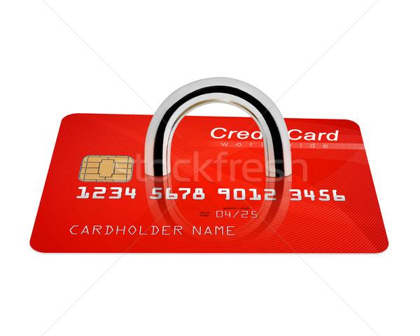 Stock fotó: Hitelkártya · biztonság · lakat · izolált · fehér · pénzügy