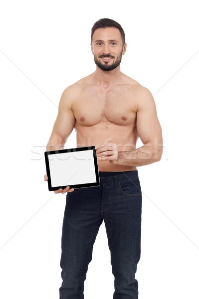 человека цифровой таблетка белый Сток-фото © goir