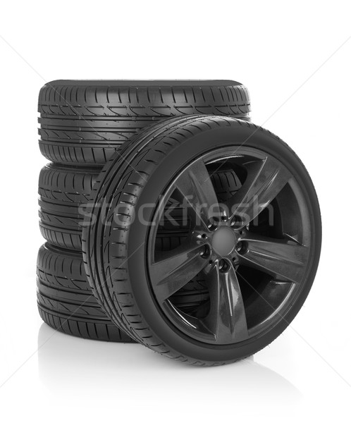 Spor tekerlekler araba yalıtılmış beyaz Metal Stok fotoğraf © goir