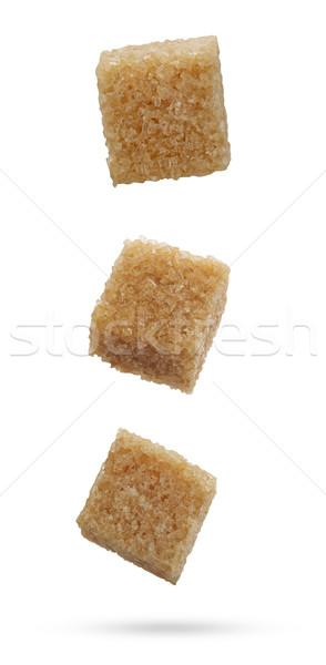 Esmer şeker düşen yalıtılmış beyaz gıda Stok fotoğraf © goir