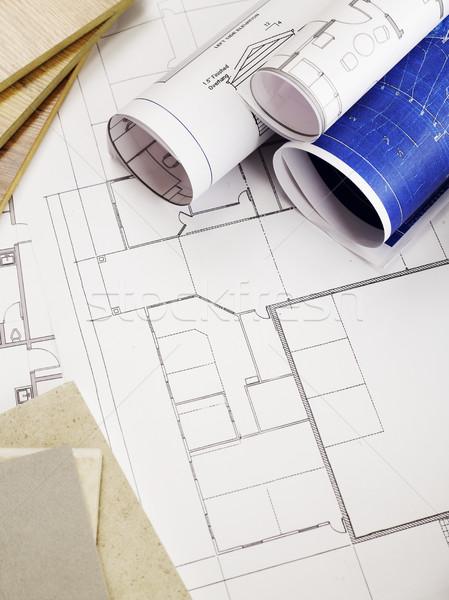 Blauwdrukken bouwmaterialen kantoor potlood industrie Stockfoto © goir