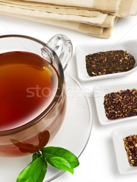 Teáscsésze kanalak tea izolált fehér folyadék Stock fotó © goir