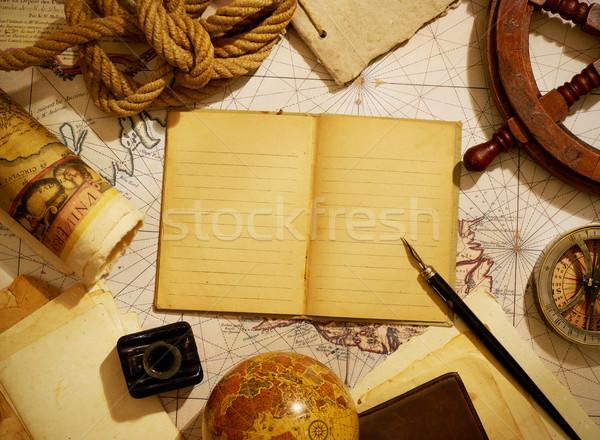 Schepen tijdschrift navigatie uitrusting notebook mariene Stockfoto © goir
