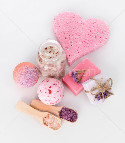 розовый ванны мыло изолированный серый Сток-фото © goir