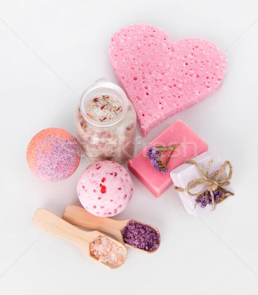 Aromaterapia rosa banho sabão isolado cinza Foto stock © goir
