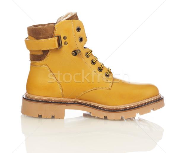 Sarı erkekler çizme yalıtılmış beyaz kış Stok fotoğraf © goir