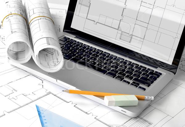 Stock fotó: Lakásügy · projekt · tervrajzok · laptop · számítógép · technológia