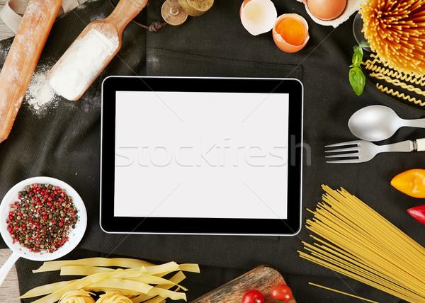 цифровой таблетка Ингредиенты пасты копия пространства продовольствие Сток-фото © goir