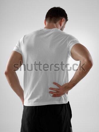 Mal de dos homme Retour gris corps Photo stock © goir