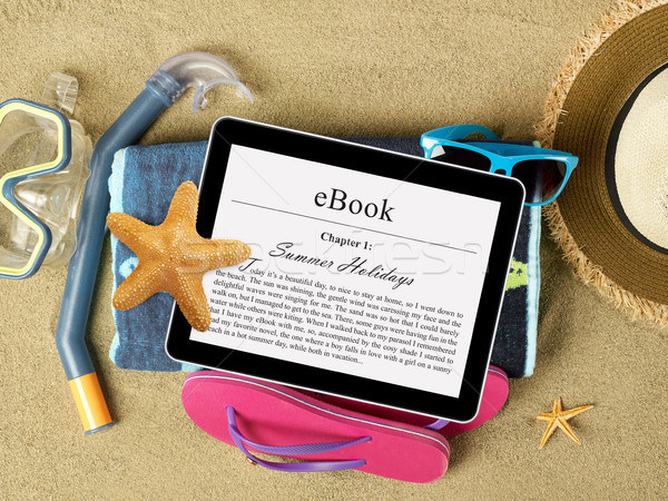 таблетка пляж песок экране компьютер лет Сток-фото © goir