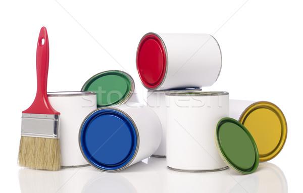 Festék ecset izolált fehér színek konténer Stock fotó © goir