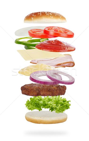 Stockfoto: Hamburger · ingrediënten · geïsoleerd · witte · vlees · salade