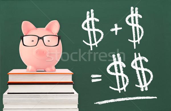 Einsparungen Sparschwein Pfund Tafel Formel Stock foto © goir