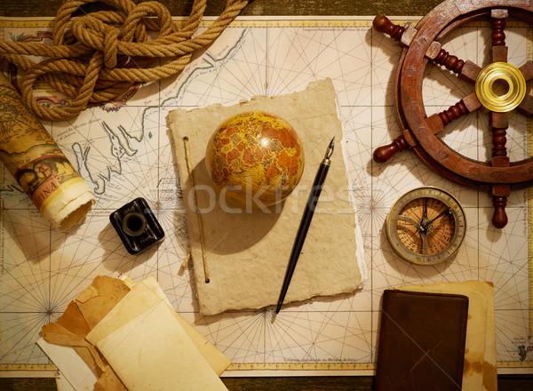 Schepen tijdschrift navigatie uitrusting mariene oude kaart Stockfoto © goir