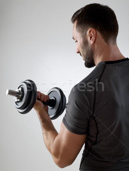 男 重み 筋肉の 孤立した グレー ストックフォト © goir