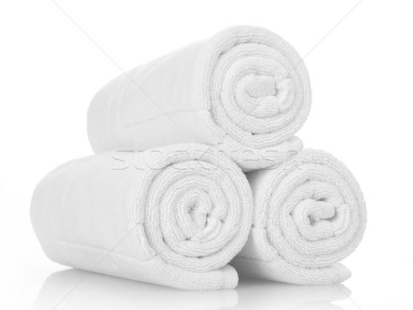 ストックフォト: 白 · タオル · クリーン · 孤立した · ホテル · 洗浄