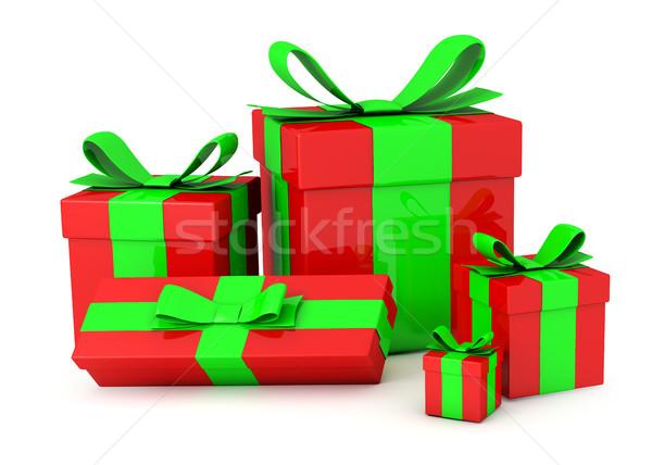 Ajándékdobozok izolált fehér születésnap piros csomag Stock fotó © goir