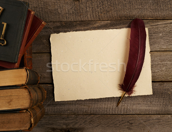 Blank antique page, quill pen and books Stock photo © goir