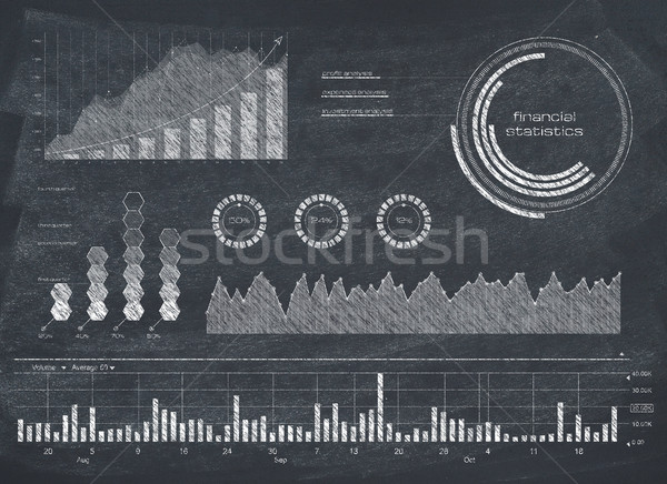 図 黒板 金融 データ グラフ グラフ ストックフォト © goir