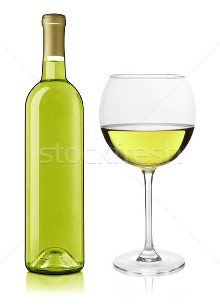 Borosüveg üveg fehérboros üveg fehér bor ital Stock fotó © goir