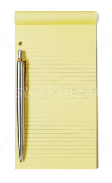 Notepad stylo jaune blanche papier éducation Photo stock © goir