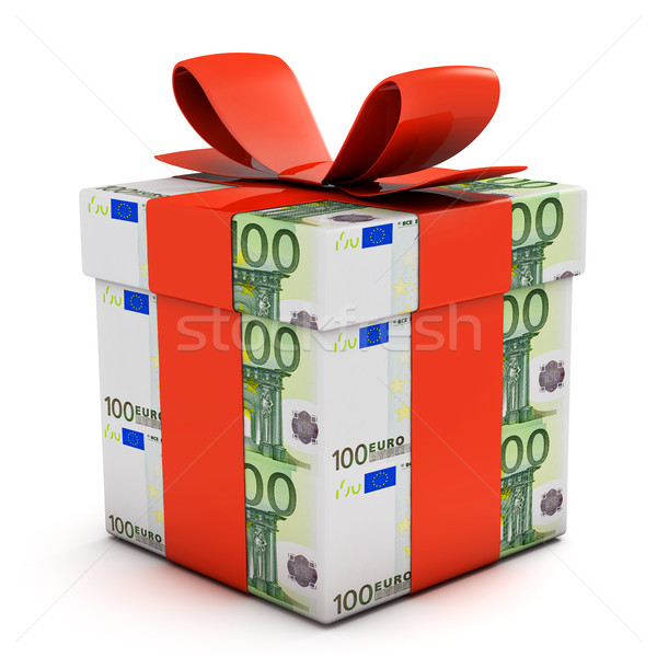 Gift box made of euro banknotes Stock photo © goir