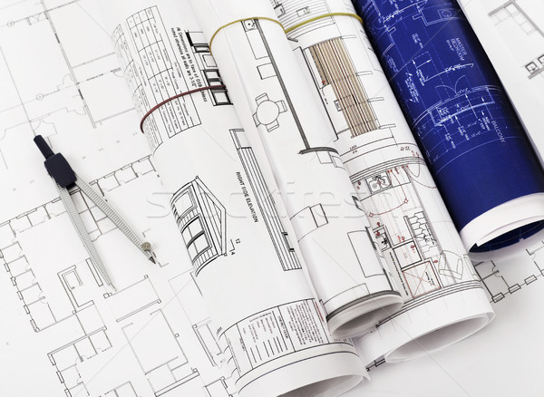 чертежи рисунок компас служба бумаги карандашом Сток-фото © goir