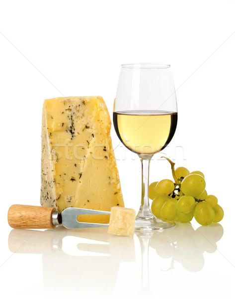 ストックフォト: ワイングラス · ブドウ · チーズ · ナッツ · 孤立した · 白