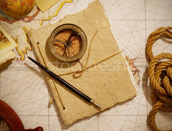 Reizen kompas tijdschrift oude kaart zeilen fotografie Stockfoto © goir