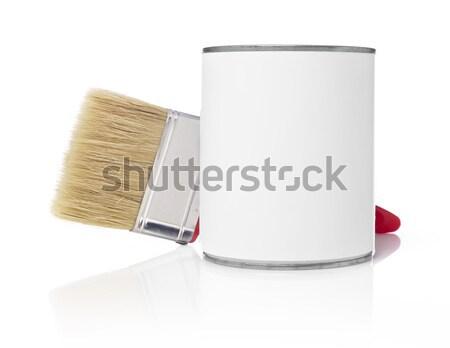 Ecset festékes flakon izolált fehér konténer konzerv Stock fotó © goir