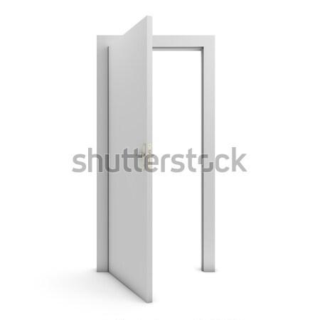 Nyitott ajtó izolált fehér ajtó szabadság fehér háttér Stock fotó © goir