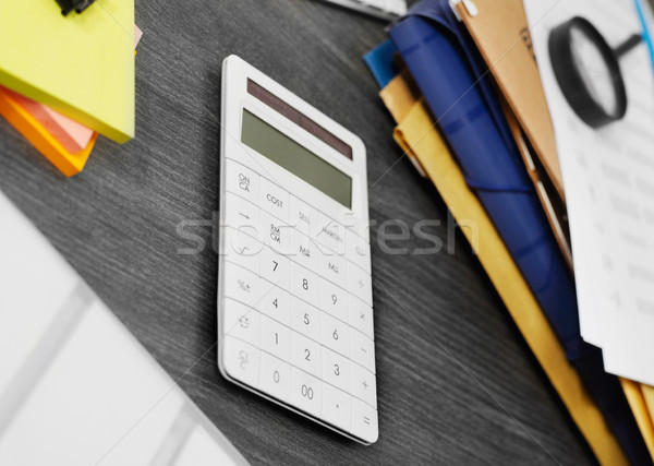 Calculadora mesa de escritório diretamente acima ver trabalhando Foto stock © goir