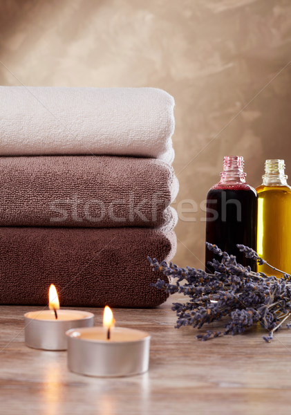 Stockfoto: Shampoo · handdoeken · kaarsen · lavendel · geneeskunde · zorg