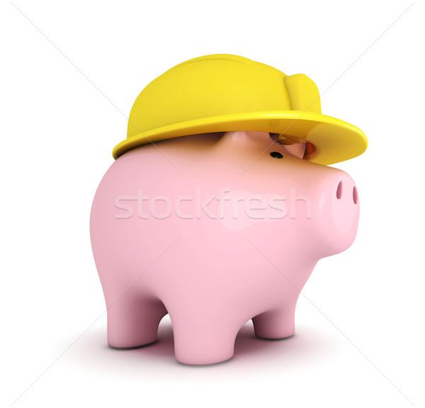 Tirelire blanche construction sécurité sécurité Photo stock © goir