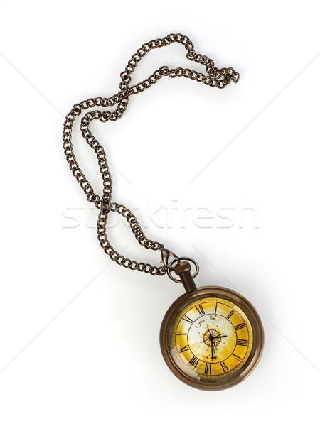Reloj de bolsillo edad aislado blanco oro ver Foto stock © goir
